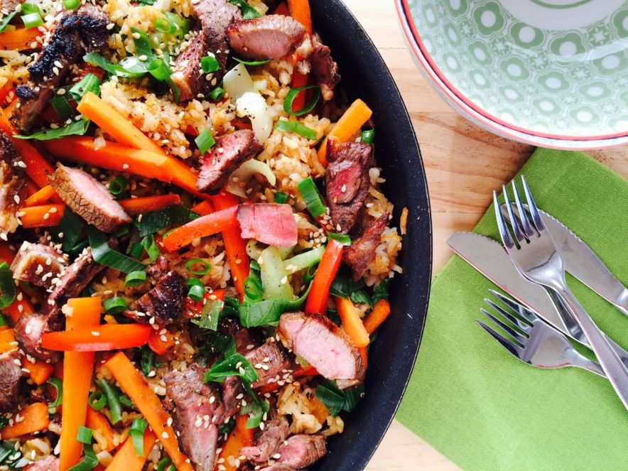 Asian Spiced Lamb with Sesame Fried Rice