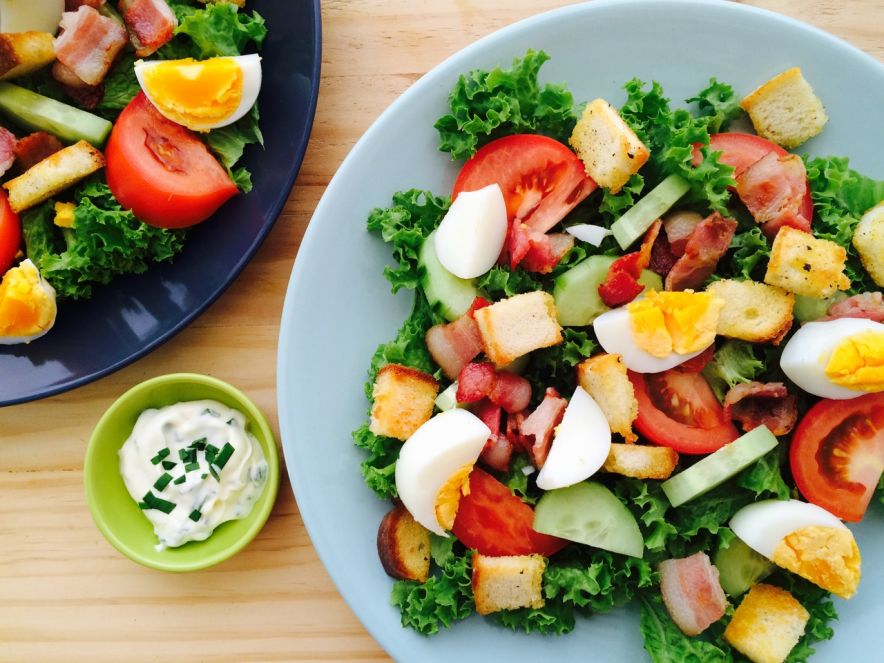 Bacon & Egg Salad with Safe Garlic & Chive Dressing