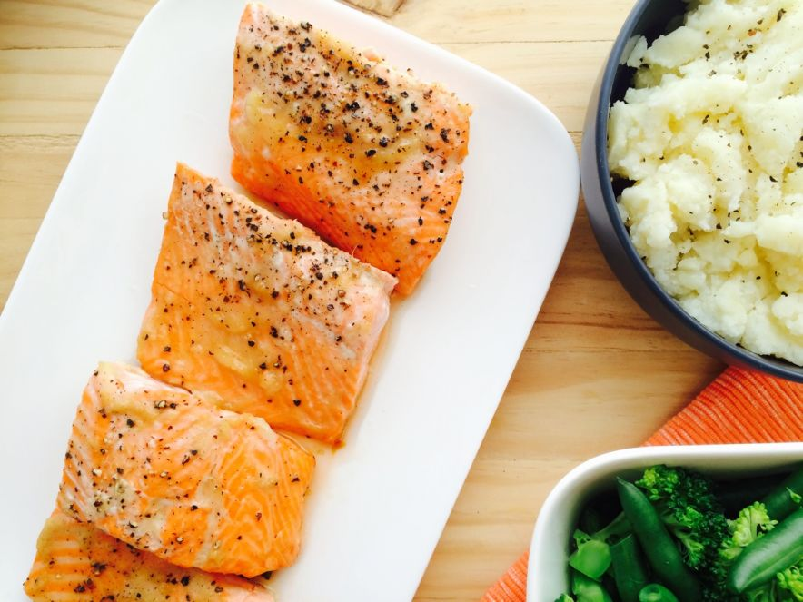Ginger Baked Salmon with Mashed Potatoes & Veggies